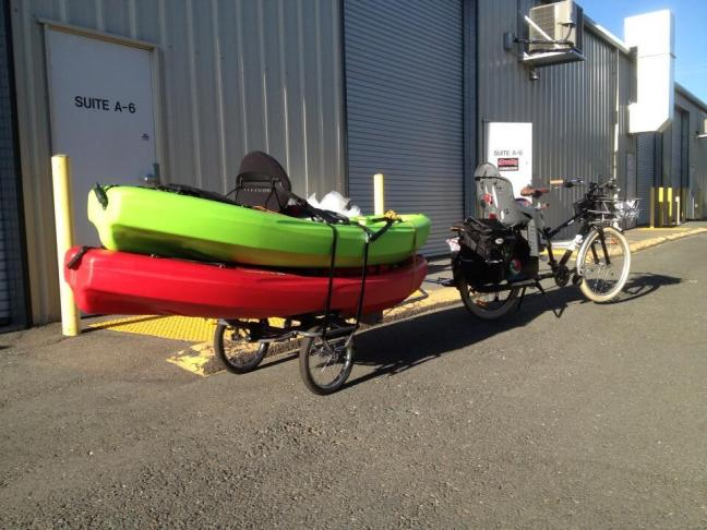 Bike hauling kayaks